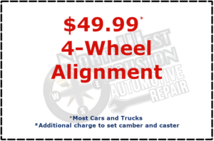 $49.99 4-wheel alignment